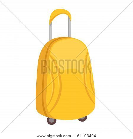 Stylish Yellow Suitcase On Wheels With Telescopic Handle Item From Baggage Bag Cartoon Collection Of Accessories. Personal Travel Luggage Piece Isolated Vector Icon.