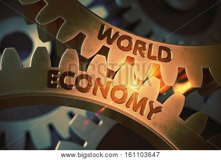 World Economy - Illustration with Glowing Light Effect. World Economy - Technical Design. 3D Rendering.