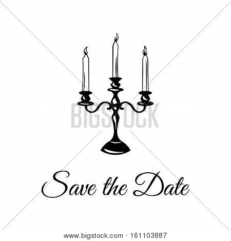 Chandelier. Candlestick Save The Date. Vector Illustration Isolated On White Background