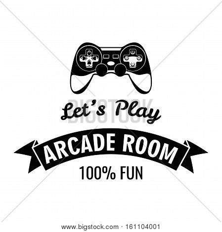 Arcade Room Label. Gamepad Lets Play. Vector Illustration Isolated On White Background