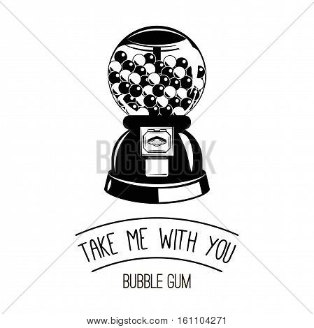 Black and white gumball machine. Vector illustration Isolated On White Background