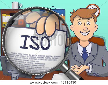 ISO - International Organization Standardization. Officeman Holds Out a Paper with Concept through Magnifying Glass. Multicolor Modern Line Illustration in Doodle Style.