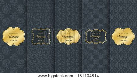 Golden vintage frame on black pattern background. Vector illustration for retro design. Gold abstract frame box. Label set. Elegant silver foil. Fashion dark interior pattern. Ornamental wallpaper