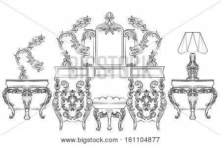 Fabulous Baroque Rococo Console Table and Mirror frame set. Vector French Luxury rich carved ornaments. Victorian wealthy Style furniture