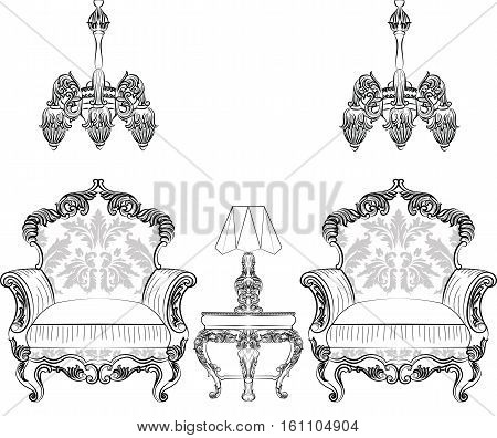 Fabulous Rich Baroque Rococo armchair and lamp table set. French Luxury rich carved ornaments furniture. Vector Victorian exquisite Style decor wooden details