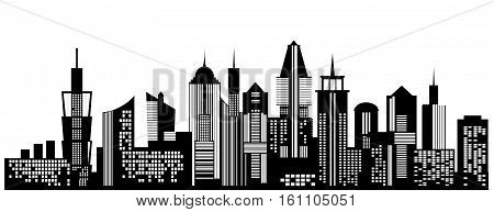 Cityscape black icon on white background. Skyline silhouette. Town architecture skyscrapers. Urban city landscape. Megapolis panorama. Vector new york building illustration
