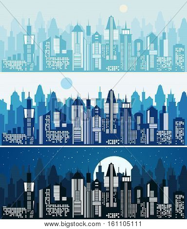 Set of cityscape background. Skyline silhouettes. Modern architecture. Blue urban landscape. Horizontal banner with megapolis skyscraper panorama. Building icon. Vector city illustration