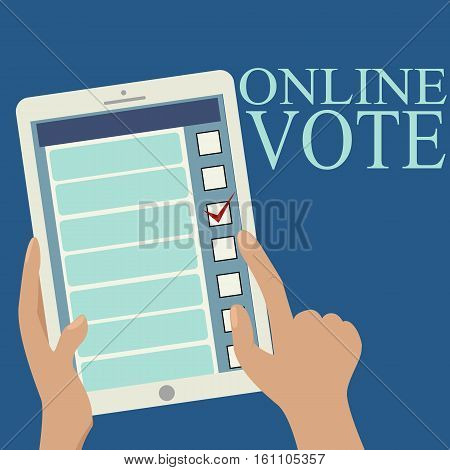 Image of tablet in someone's hands. Opened web page of the electronic online voting.With simple text.