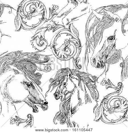 horse. seamless pattern with horse. horse sketch illustration.