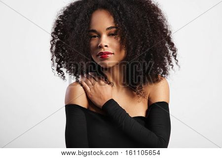 Black Woman With Big Afro Curly Hair