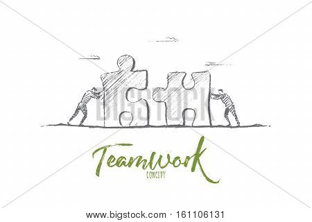 Vector hand drawn teamwork concept sketch. Bisiness people pushing huge pieces of one puzzle towards each other. Lettering Teamwork concept