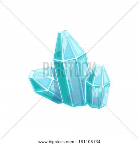 Small Blue Crystal Gem, Hidden Treasure And Riches For Reward In Flash Came Design Variation. Cartoon Cute Vector Illustration With Isolated Treasury Object For Bonus Element In Video Games.