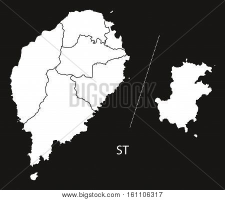 Sao Tome And Principe Districts Map Black And White Illustration
