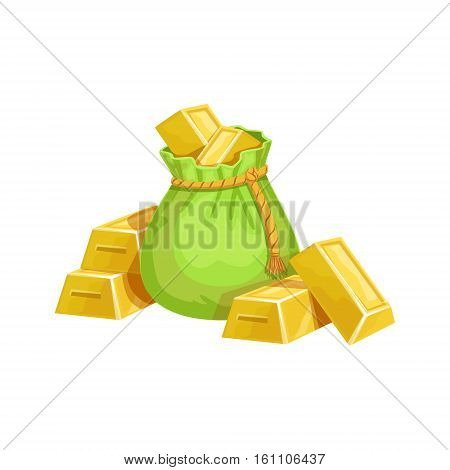Small Sack With Golden Bars, Hidden Treasure And Riches For Reward In Flash Came Design Variation. Cartoon Cute Vector Illustration With Isolated Treasury Object For Bonus Element In Video Games.