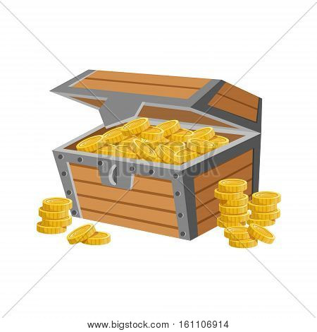 Wooden Chest Filled With Golden Coins, Hidden Treasure And Riches For Reward In Flash Came Design Variation. Cartoon Cute Vector Illustration With Isolated Treasury Object For Bonus Element In Video Games.