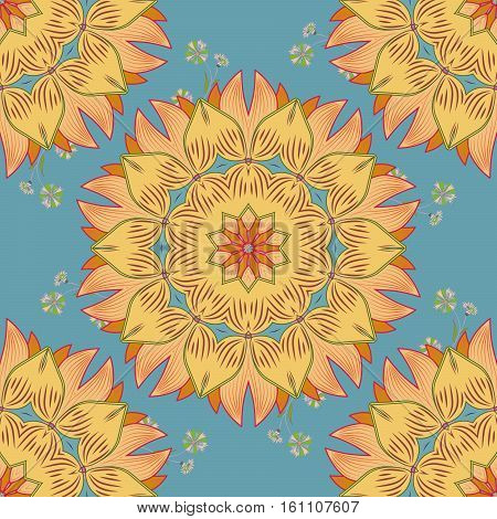 raster illustration texture. Mandala yellow and beige. Bue background.