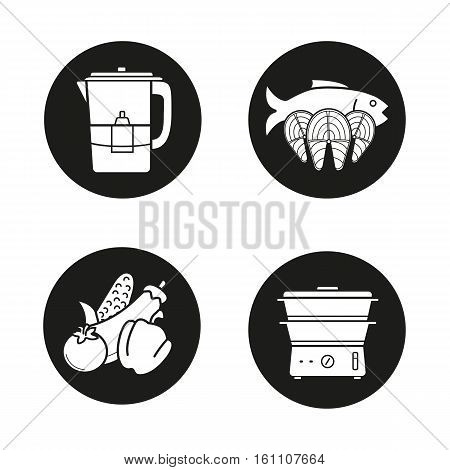 Steam cooking icons set. Vegetables, salmon fish steaks, water filter and steam cooker. Vector white silhouettes illustrations in black circles