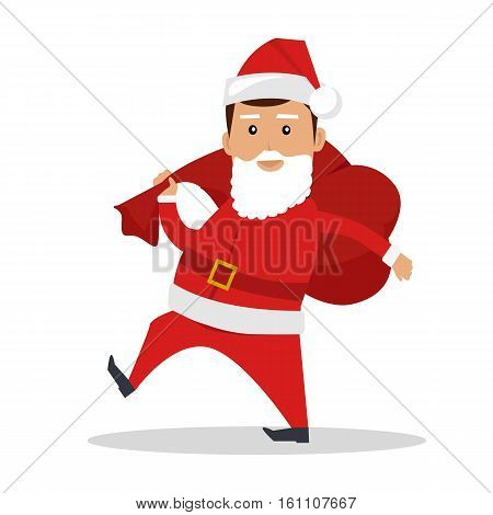 Santa Claus character vector. Flat design. Man dressed in Santa suit walking with bag of gifts on his back. Christmas, family values concept. Daddy with false beard. Isolated on white background.