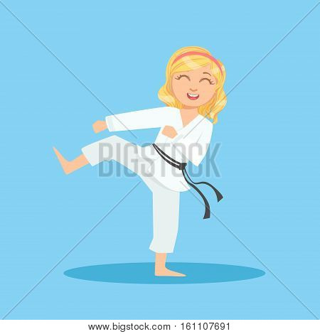 Girl In White Kimono Doing Leg Sidekick On Karate Martial Art Sports Training Cute Smiling Cartoon Character. Part Of Kids Fighters In Traditional Asian Karate Outfit Collection Of Vector Illustrations