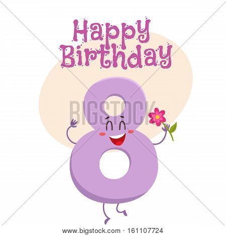 Happy birthday vector greeting card, poster, banner design with cute and funny eight number characters. eight smiling characters, happy birthday greeting card template