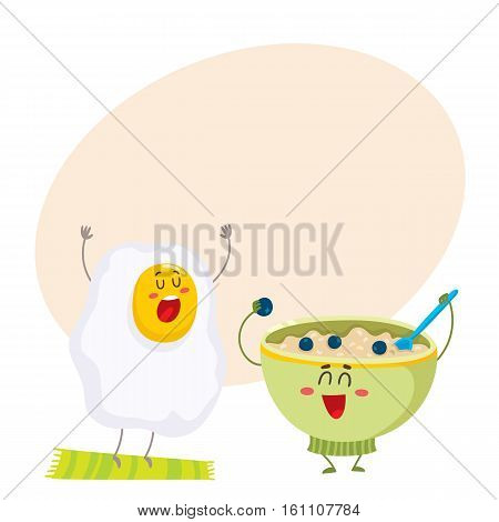 Funny fried egg, bowl of cereal characters, ideal breakfast for kids, cartoon vector illustration on background with place for text. Fried egg and bowl of oatmeal characters, mascots, design elements