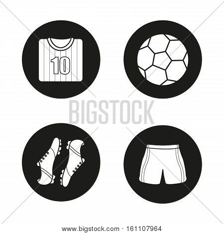 Soccer icons set. Football shirt, boots and shorts, ball. Soccer player's uniform. Vector white silhouettes illustrations in black circles