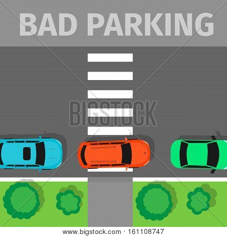 Bad parking. Car parked in inappropriate way on pedestrian crossing. Driver annoying everyone. Parking zone conceptual web banner. Rude disrespectful impolite driver in parking lot or car park. Vector