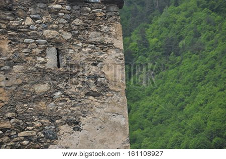 Georgia. Swan tower. Residential building defensive in the mountains. Caucas.