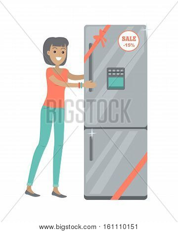 Discounts in electronics store concept. Smiling woman standing with refrigerator bought on sale flat vector illustration on white background. Shopping on appliances sellout. For shop promotions ad