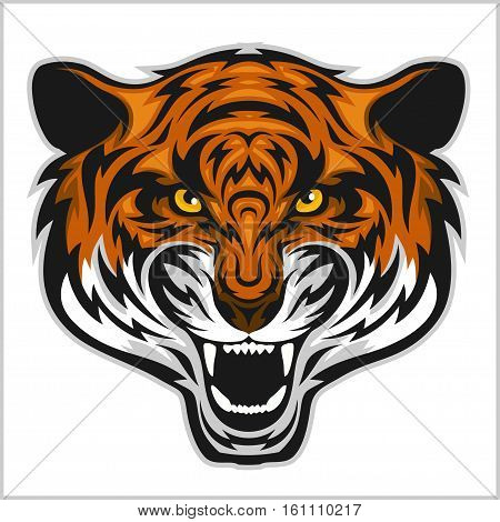 Tiger anger. Vector illustration of a tiger head on a white bacground poster