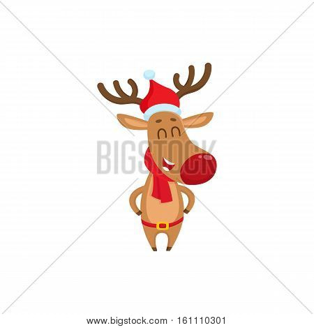 Funny Christmas reindeer in red hat, scarf and belt laughing happily, cartoon vector illustration isolated on white background. Christmas red nosed deer in hat and scarf, holiday decoration element
