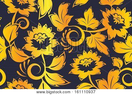 Golden khokhloma russian vintage seamless pattern vector