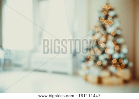 Defocused Background Christmas Living Room With Christmas Tree