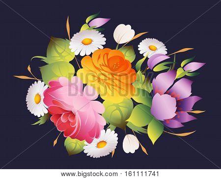 ornate floral vintage decoration dark vector background