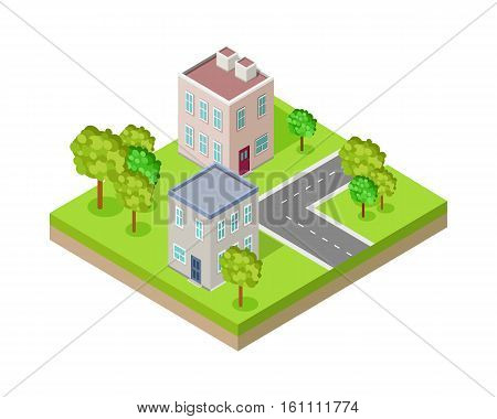City street block in isometric projection. Urban landscape fragment with road, buildings, trees, lawn, ground layer. For gaming environment, app, infographic, icon design. Isolated on white background