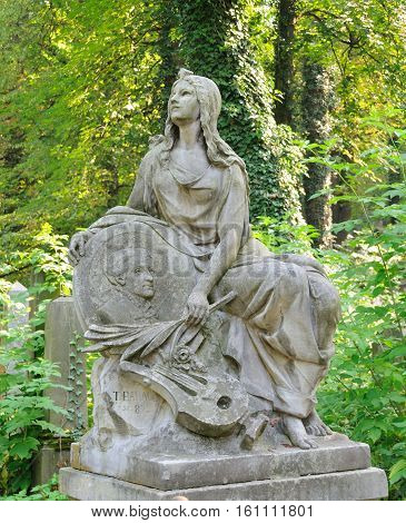 Old Statue In Lychakiv Cemetery In Lviv, Ukraine