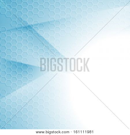 Light blue tech minimal abstract background with hexagon texture. Vector bright design