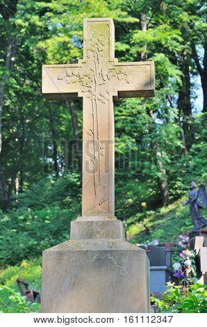 Old Statue In Lychakiv Cemetery In Lviv, Ukraine