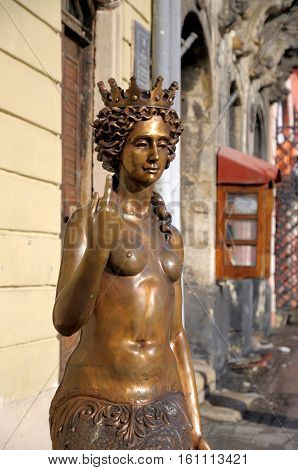 LVIV; UKRAINE - February 05: Sculpture - Nympha Melusine on February 05 2014 in Lviv Ukraine.