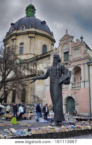 Lviv, Ukraine - April 16: Statue Of Ivan Fedorov On April 16, 2015 In Lviv, Ukraine. Ivan Fedorov (1