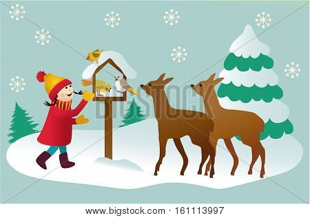 Winter cartoon illustration with girl and forest animals