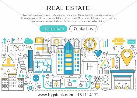 Vector modern line flat design Real estate concept. Real estate property icons Website Header, app design poster banner