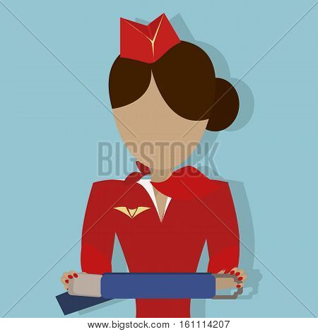 The Stewardess shows how to use the safety seat belt. Vector illustrationon on  blue background.