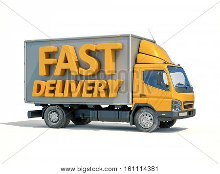 3d render: Yellow Postal Truck and 3d sign Fast Delivery, Home Delivery Icon, Delivery Truck Icon, Transporting Service, Packages Shipment, International Logistics