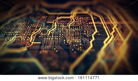 Orange green technology background circuit board and code. 3d Illustration