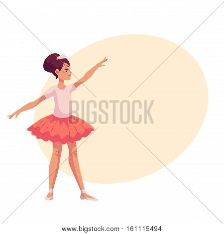 Full length profile portrait of graceful pretty young ballerina in pink tutu, cartoon style vector illustration on yellow background with place for text. Little ballet dancer in pink tutu dancing