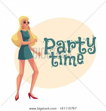 Young woman with long blond hair in short 1960s style dress dancing disco, cartoon style invitation, greeting card design. Party invitation, advertisement, Girl, woman in sunglasses with long blond