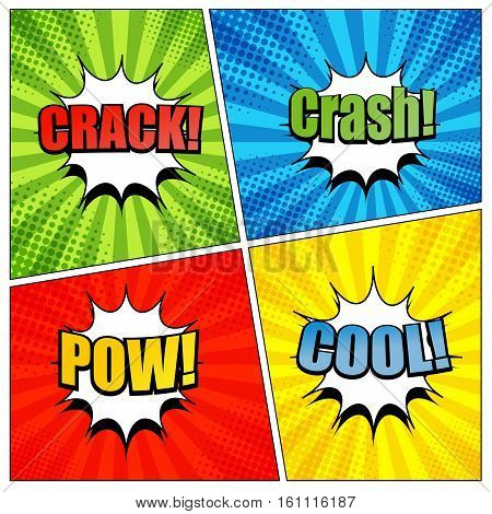 Comic book page template with colorful crack crash pow and cool wording. Background with radial and halftone effects in pop-art style. Vector illustration