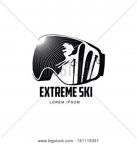 Black and white graphic mountain skiing goggles logo, vector illustration on white background. Mounting skiing logo design with skis and poles reflected in goggles, mask, glasses with sun rays