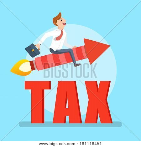 Businessman flying on a rocket avoiding tax. Happy worker sitting on a red rocket with a suitcase
